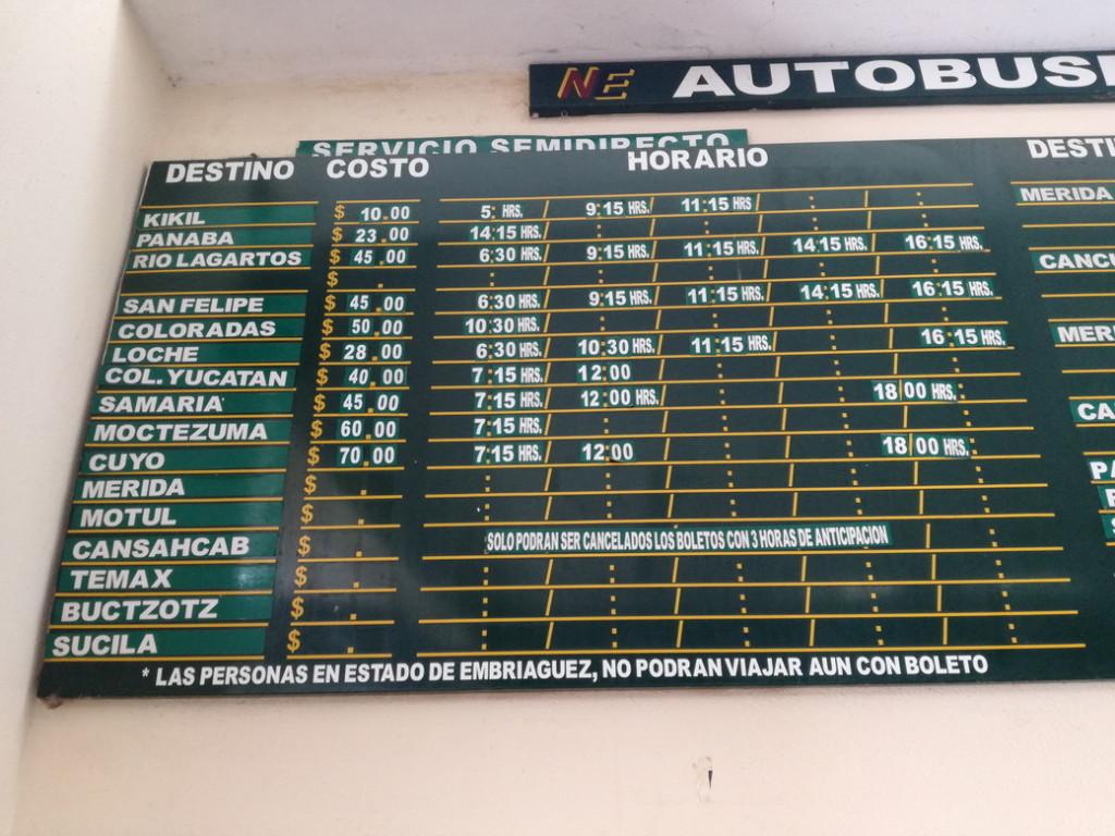 ピンクレイク(ラグーン)ティシミンからコロラダスへのバスの時刻表3