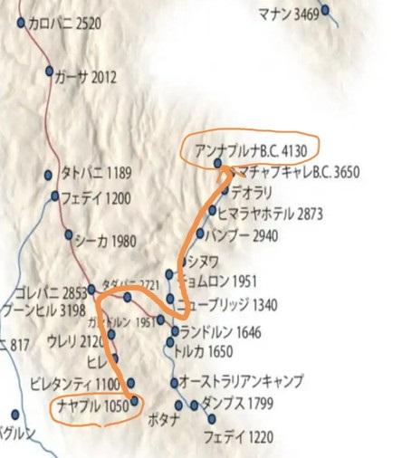 アンナプルナサンクチュアリ(内院)トレッキングコース図解地図